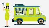 stock photo of food truck  - Food Truck Cook with a white background - JPG