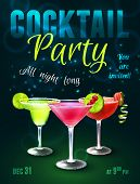 picture of alcoholic beverage  - Cocktail party poster with alcohol beverages in glasses on dark blue background vector illustration - JPG