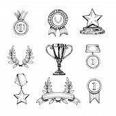 image of prize winner  - Award decorative sketch icons set of trophy medal winner prize champion cup isolated vector illustration - JPG