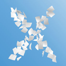 stock photo of x-files  - letter X composed by paper on blue background - JPG