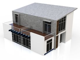 picture of duplex  - 3d modern duplex house on white background - JPG