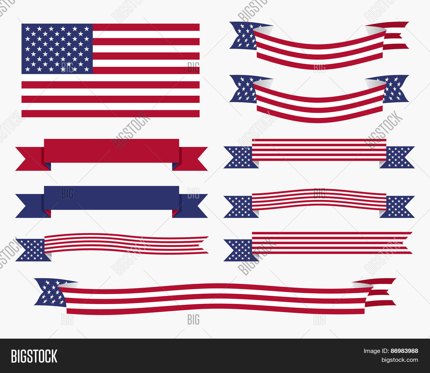 red white blue american flag ribbon and banner stock vector stock photos bigstock. Black Bedroom Furniture Sets. Home Design Ideas