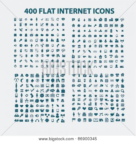 400 flat business, media, internet, website icons, signs, illustrations design concept set for appliciation, website, vector on white background