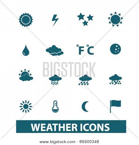 weather, climate icons, signs, illustrations design concept set for appliciation, website, vector on white background