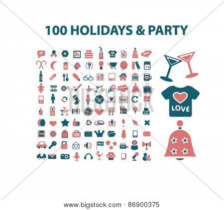 100 holidays, party, celebration icons, signs, illustrations design concept set for appliciation, website, vector on white background