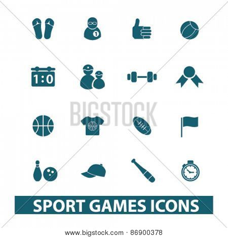 sport, games, fitness icons, signs, illustrations design concept set for appliciation, website, vector on white background