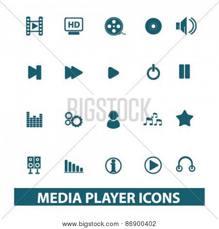 media player, music, audio icons, signs, illustrations design concept set for appliciation, website, vector on white background
