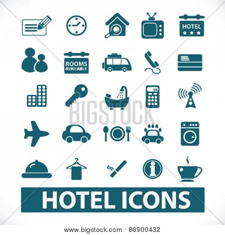 hotel, motel icons, signs, illustrations design concept set for appliciation, website, vector on white background