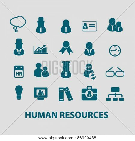 human resources, management icons, signs, illustrations design concept set for appliciation, website, vector on white background