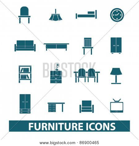furniture, interior, room icons, signs, illustrations design concept set for appliciation, website, vector on white background