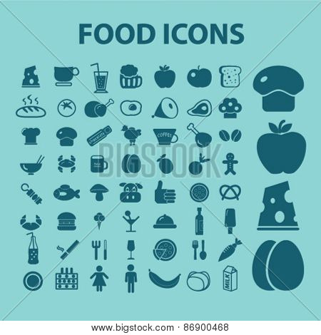 food, restaurant, cafe icons, signs, illustrations design concept set for appliciation, website, vector on white background