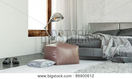 Modern Architectural Interior Design of a Relaxing Home Bedroom with Ottoman and Lamp Stand. 3d Rendering