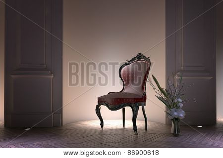 Antique bustle back Victorian armchair illuminated by a spotlight standing in a recessed alcove in a formal house interior with floral arrangement on the parquet floor alongside. 3d Rendering