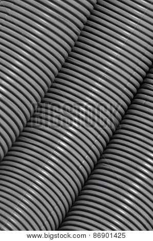 Grey corrugated pipe