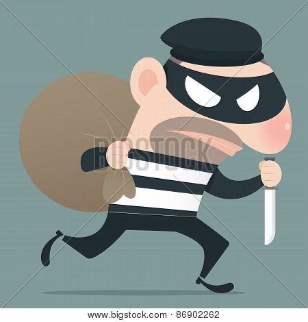 Thief Holding Knife In His Hand And Carrying A Money Bag, Eps10, Vector