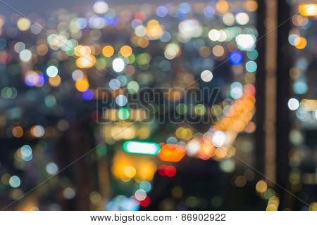 Night- Blurred Photo bokeh of Central business center