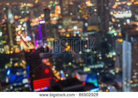 Bangkok Skyline at Night- Blurred Photo bokeh