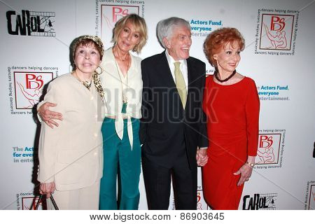 LOS ANGELES - MAR 29:  Neile Adams, Sandahl Bergman, Dick Van Dyke, Carol Lawrence at the 28th Annual Gypsy Awards Luncheon at the Beverly Hilton Hotel on March 29, 2015 in Beverly Hills, CA