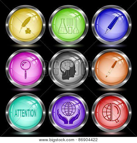 Education set. Internet button. Raster illustration.