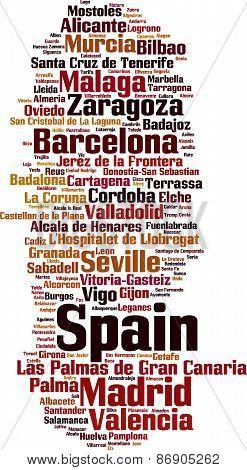 Cities In Spain Word Cloud