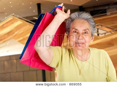 beautiful senior doing some shopping