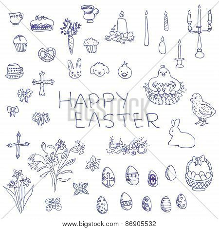 Big set of liner pen hand-drawn sketchy outline Easter objects