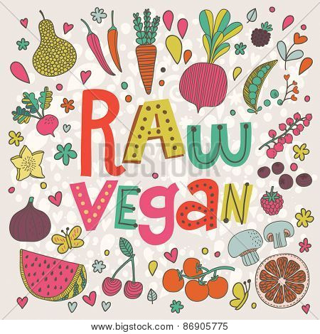 Lovely raw vegan food concept card in vector. Sweet pear, cherry, pomegranate, watermelon, red currant, raspberry, fig, blueberry, carambola, beet, carrot, peas, mushrooms, chile and tomato