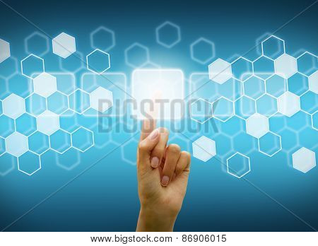 Woman Hand Using Digital Screen