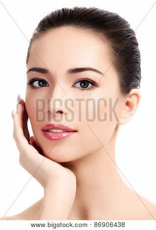 Beautiful girl with clean fresh skin, white background.