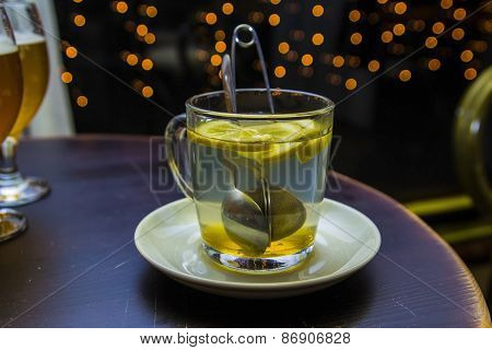 cup brewing tea in a cafe