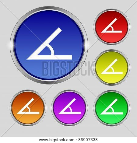 Angle 45 Degrees Icon Sign. Round Symbol On Bright Colourful Buttons. Vector