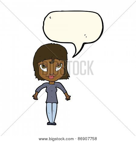 cartoon girl shrugging shoulders with speech bubble