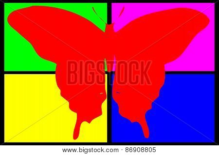 Red Butterfly On Multicolored Background