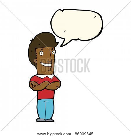 cartoon man with folded arms grinning with speech bubble