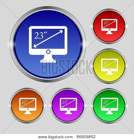 Diagonal Of The Monitor 23 Inches Icon Sign. Round Symbol On Bright Colourful Buttons. Vector