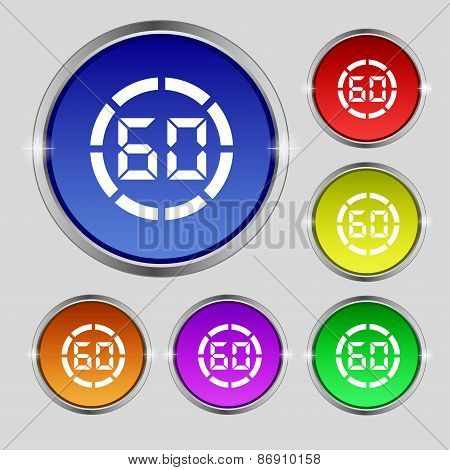 60 Second Stopwatch Icon Sign. Round Symbol On Bright Colourful Buttons. Vector