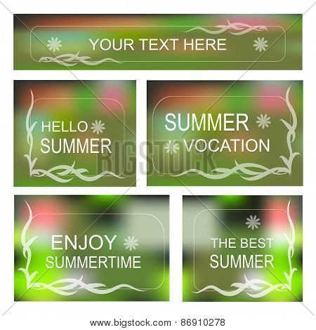 Summertime Vector Background, Decorative Frame Set