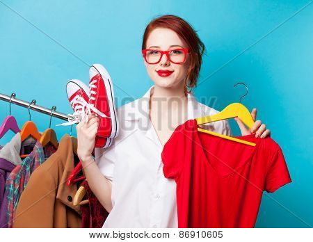 Designer With Red Dress And Gumshoes