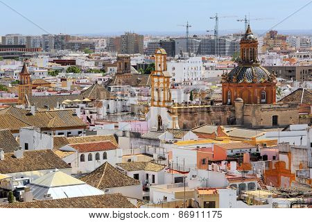 Santa Cruz church from La Giralda Tower of Cathedral, Seville, Andalusia, Spain
