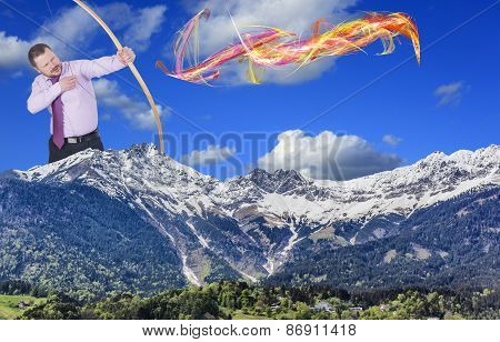 Businessman practicing archery with mountain valley in foreground