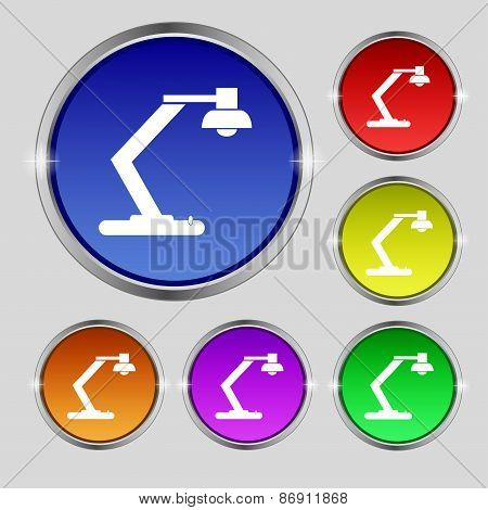Light, Bulb, Electricity Icon Sign. Round Symbol On Bright Colourful Buttons. Vector