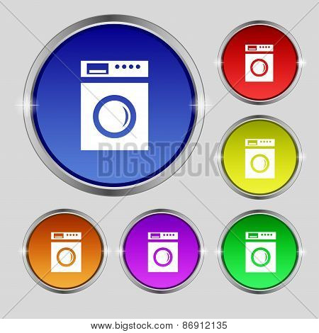 Washing Machine Icon Sign. Round Symbol On Bright Colourful Buttons. Vector