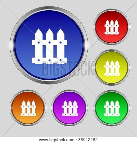 Fence Icon Sign. Round Symbol On Bright Colourful Buttons. Vector