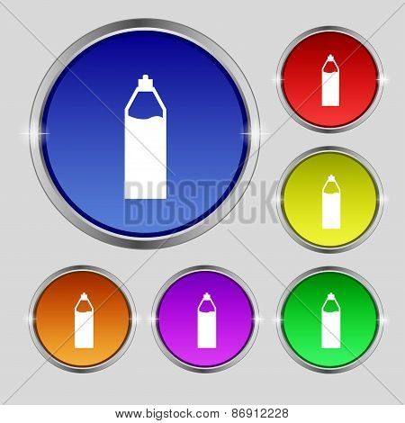 Plastic Bottle With Drink Icon Sign. Round Symbol On Bright Colourful Buttons. Vector