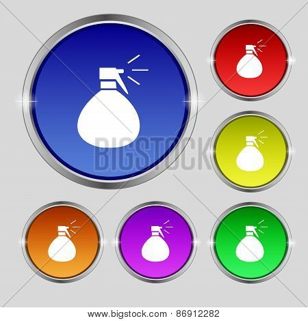 Plastic Spray Of Water Icon Sign. Round Symbol On Bright Colourful Buttons. Vector