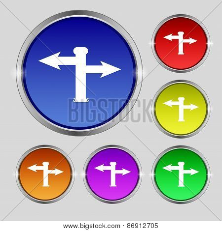 Blank Road Sign  Icon Sign. Round Symbol On Bright Colourful Buttons. Vector