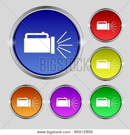 Flashlight Icon Sign. Round Symbol On Bright Colourful Buttons. Vector