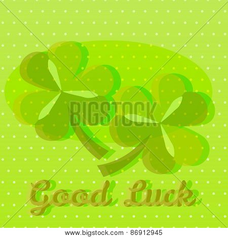 Bright green good luck greeting card with two shamrocks