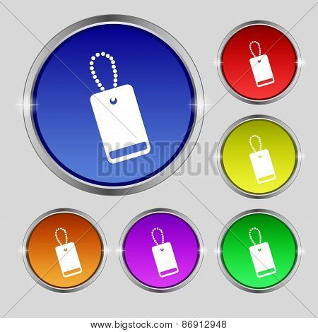 Army Chains Icon Sign. Round Symbol On Bright Colourful Buttons. Vector
