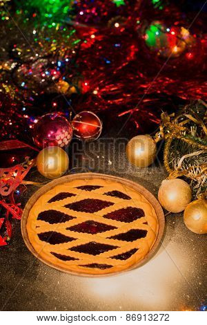 Assortment Of Traditional Christmas Mince Pies With Christmas Background